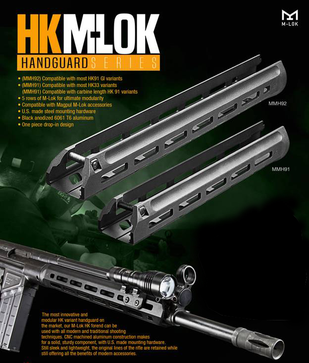 AIM Tactical M-LOK Carbine Length Handguard PTR-91K HK-93 G3K