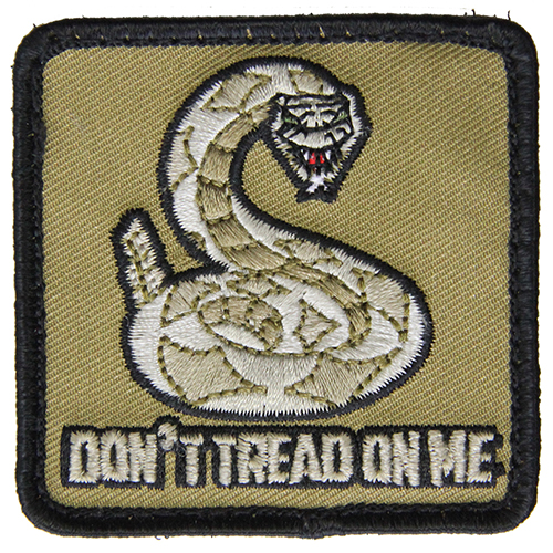 Don't Tread On Me Moral Patch Tan / Black Hook and Loop Material