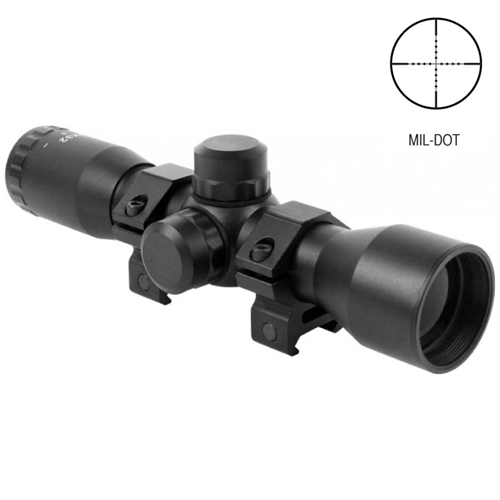 AIM 4x32 Compact Mil-Dot Reticle Rifle Scope with Rings