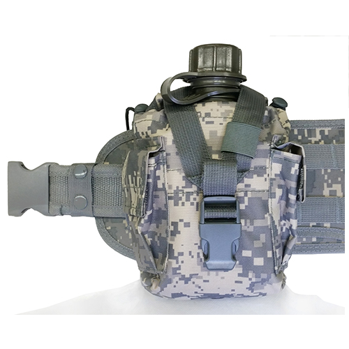 ACU Digital Camo MOLLE Modular Belt + BPA FREE Canteen And Cover