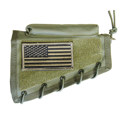 Green Tactical Stock Riser Cheek Rest + USA FLAG Patch + Pouch