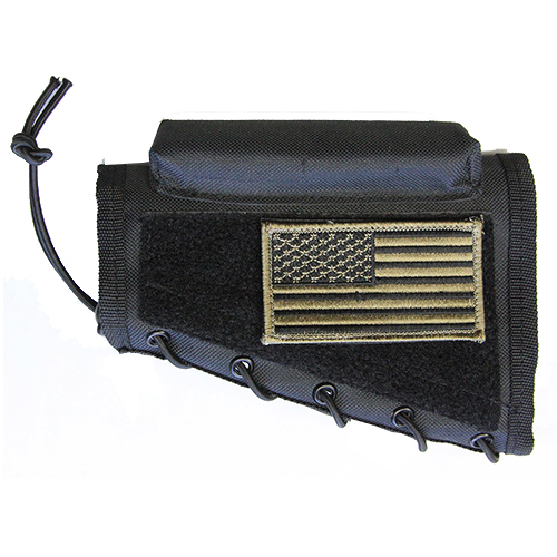 Black Tactical Stock Riser Cheek Rest + USA FLAG Patch + Pouch