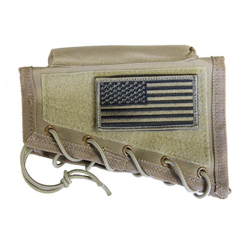 Tan Tactical Stock Riser Cheek Rest + USA FLAG Patch + Mag Pouch