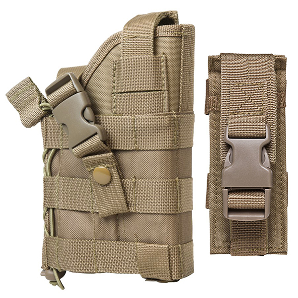 Tactical Adjustable MOLLE Pistol Belt Holster + Magazine Pouch