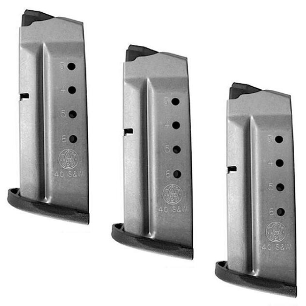 Lot of 3 - S&W SHIELD .40 Caliber 6rd OEM Stainless Magazines