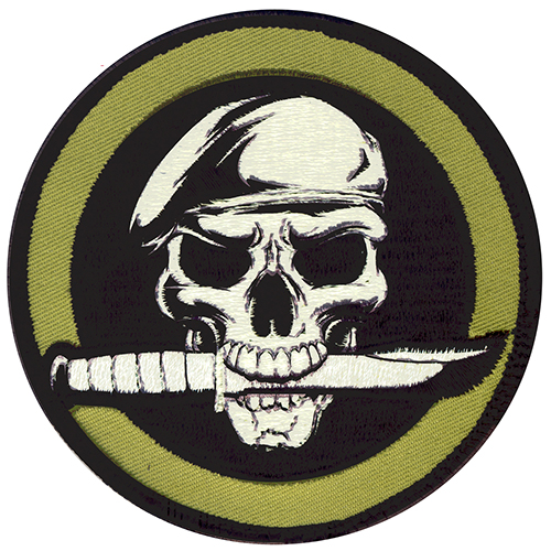 Skull and Knife Moral Patch Tan + Green Hook and Loop Material