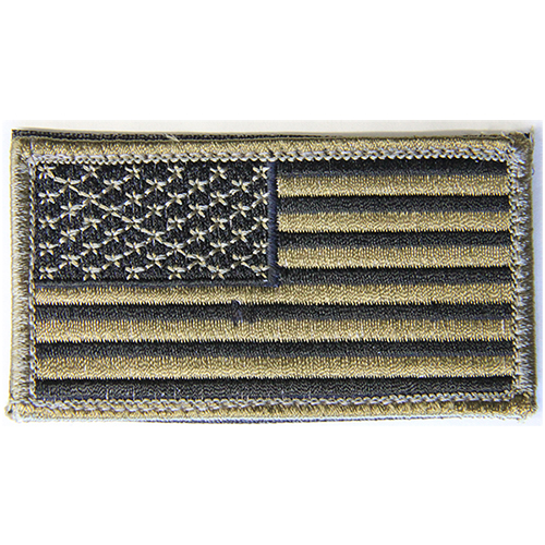 USA Flag Moral Patch Tan and Black Hook and Loop Material